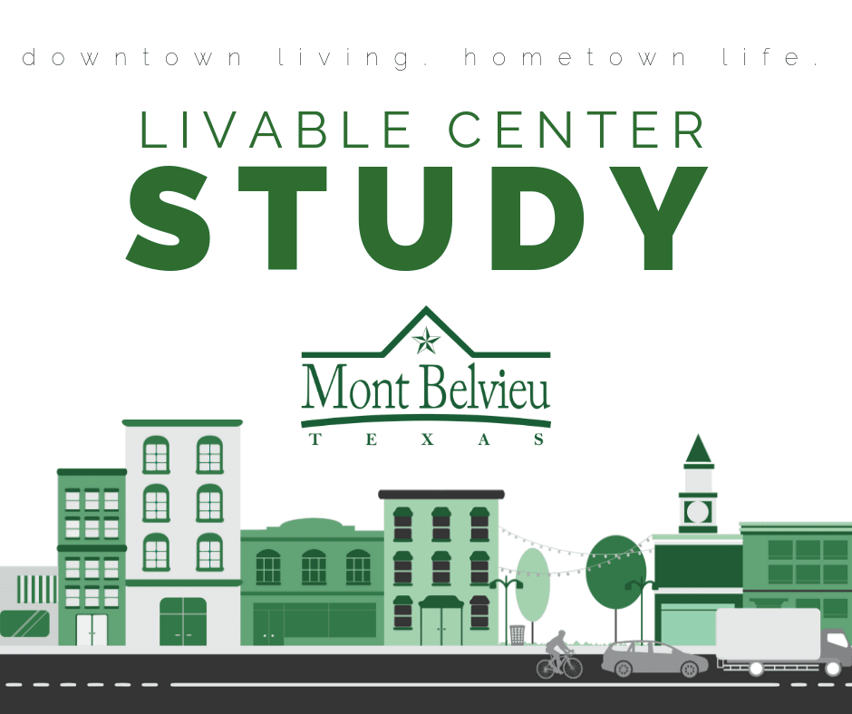 A graphic of a small town skyline with text that says Mont Belvieu Main Livable Center Study Results
