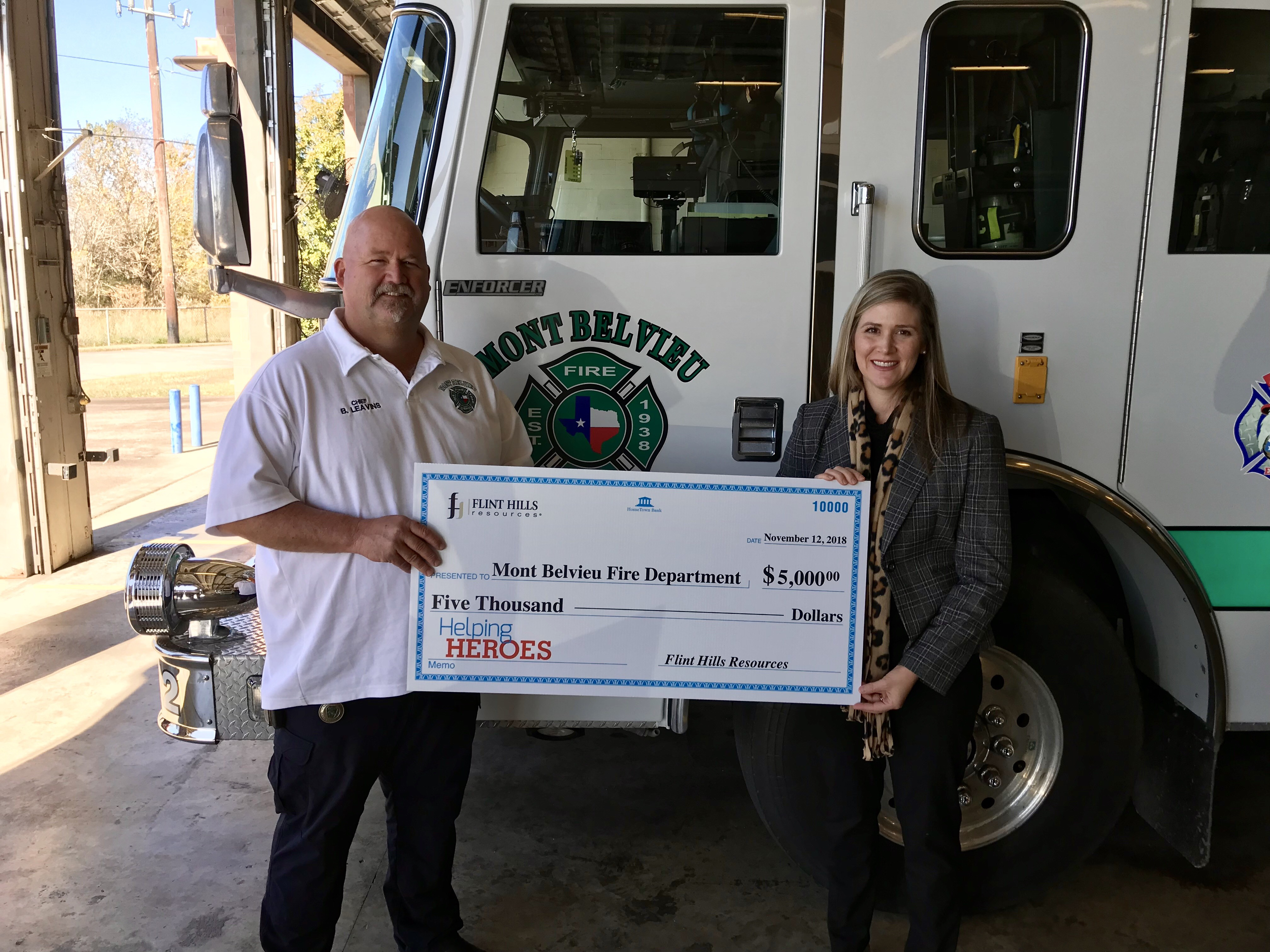 Mont Belvieu Fire Chief Buck Leavins receives a $5000 Helping Heroes Grant from Flint Hills Resource