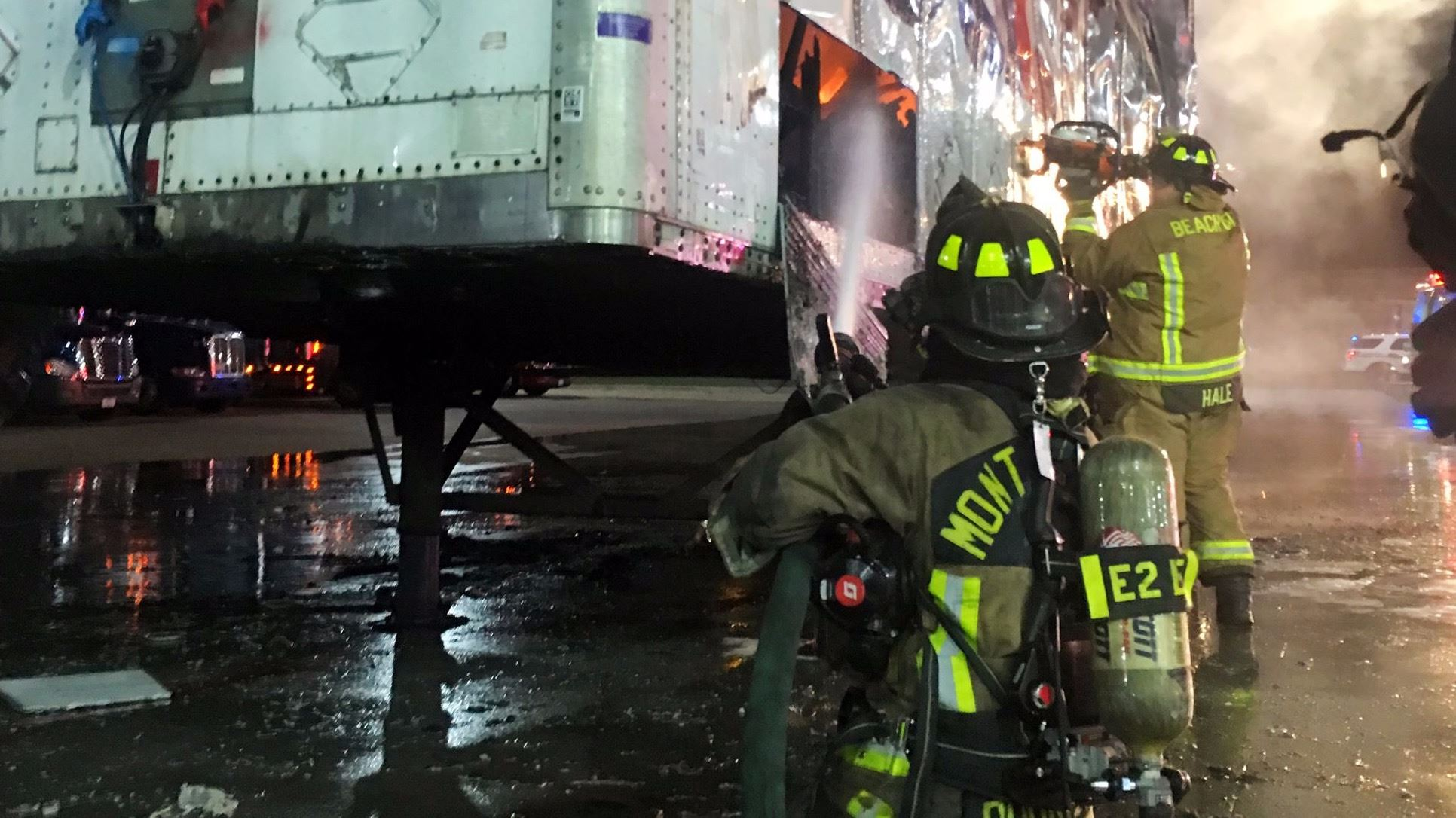 The Mont Belvieu Fire Department battles a truck trailer blaze on Interstate 10