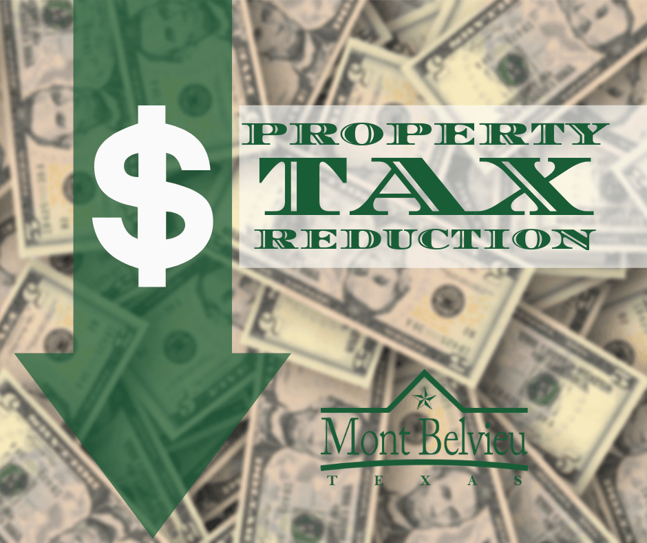 An arrow pointing down over a pile of money indicating Property Tax Reduction