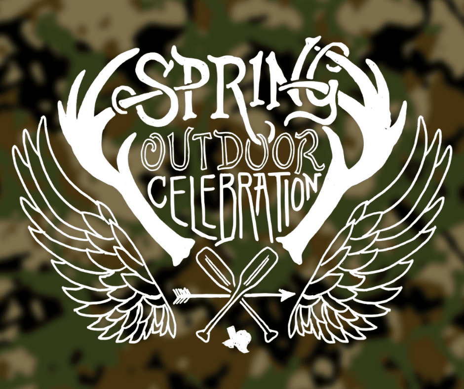 A camouflage background with the Spring Outdoor Celebration logo over it.