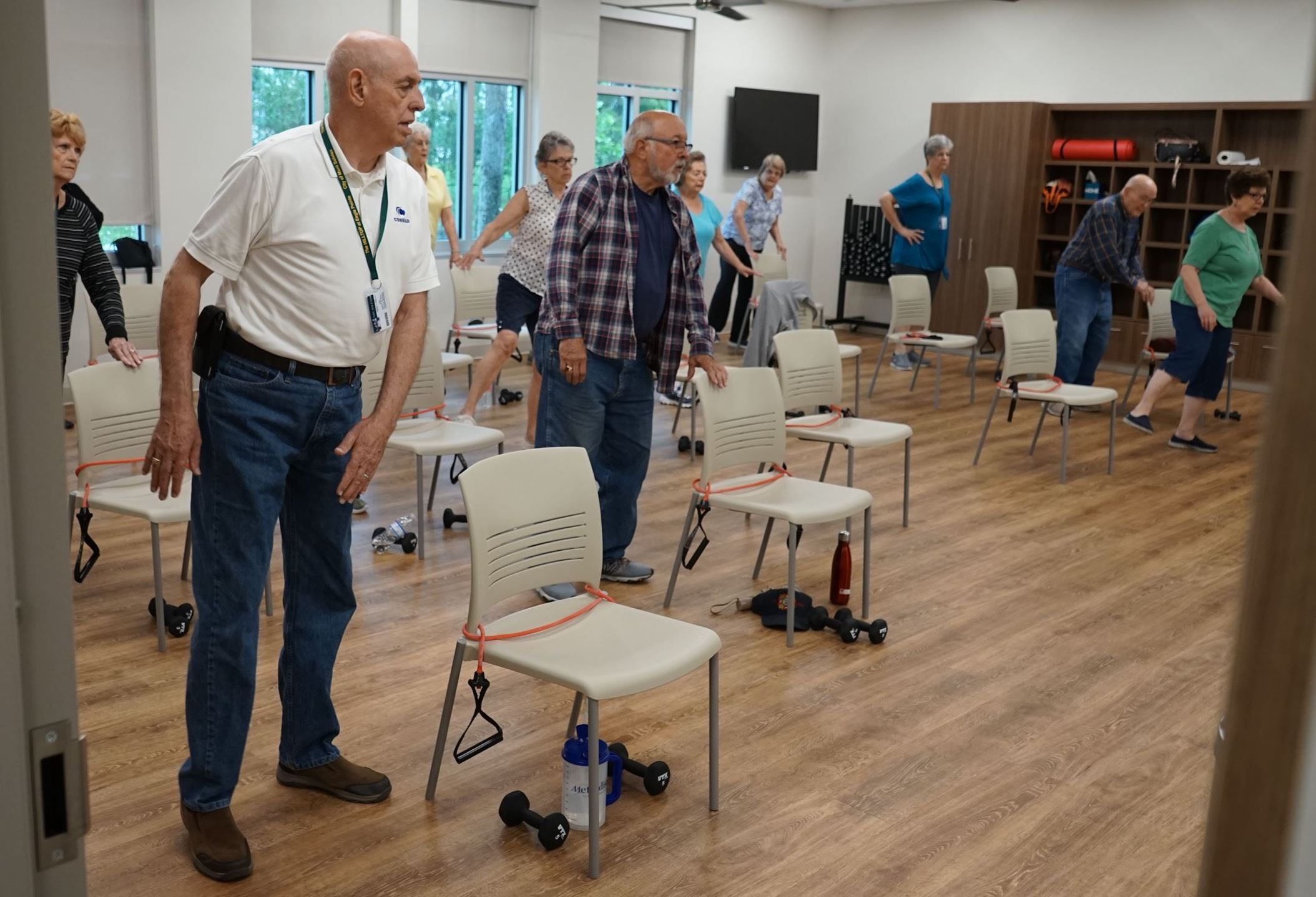 Mont Belvieu senior citizens participating in chair yoga at the Hilltop senior center.