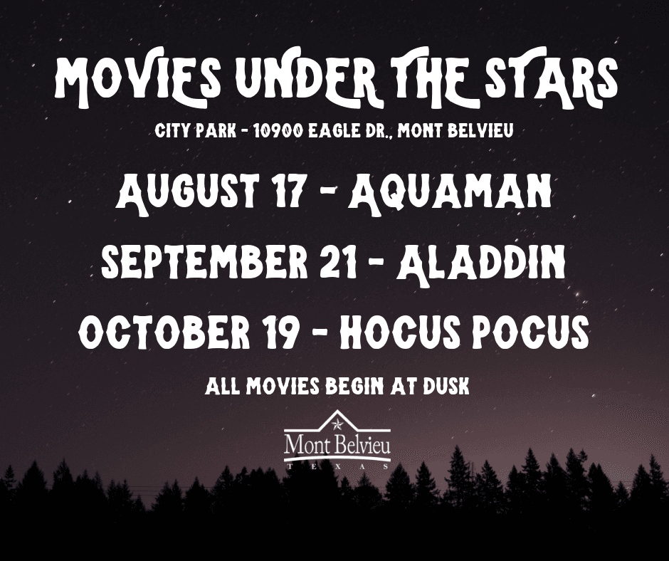 A photo of a starry night outdoors with text listing the movies in the City's outdoor film series