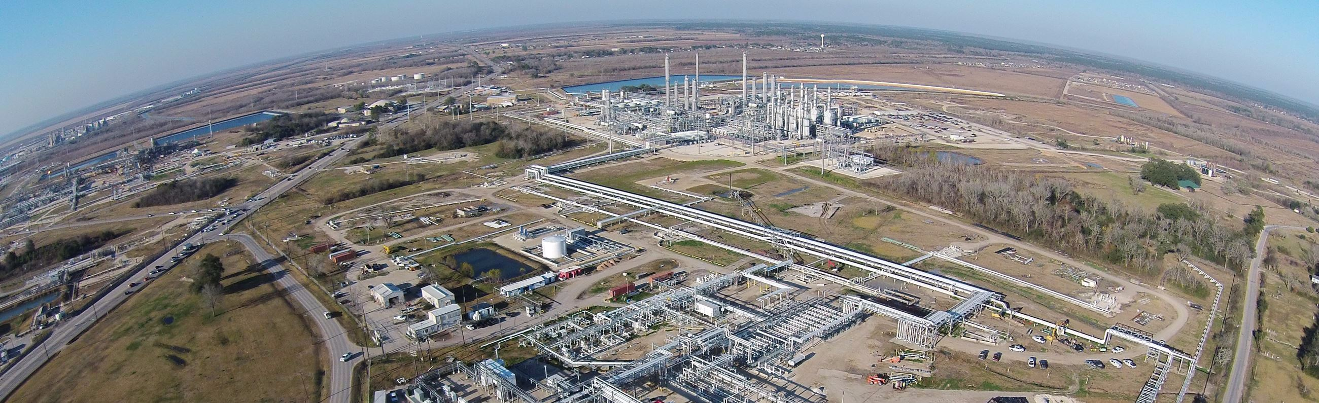 An aerial view of Mont Belvieu's large natural gas industrial area
