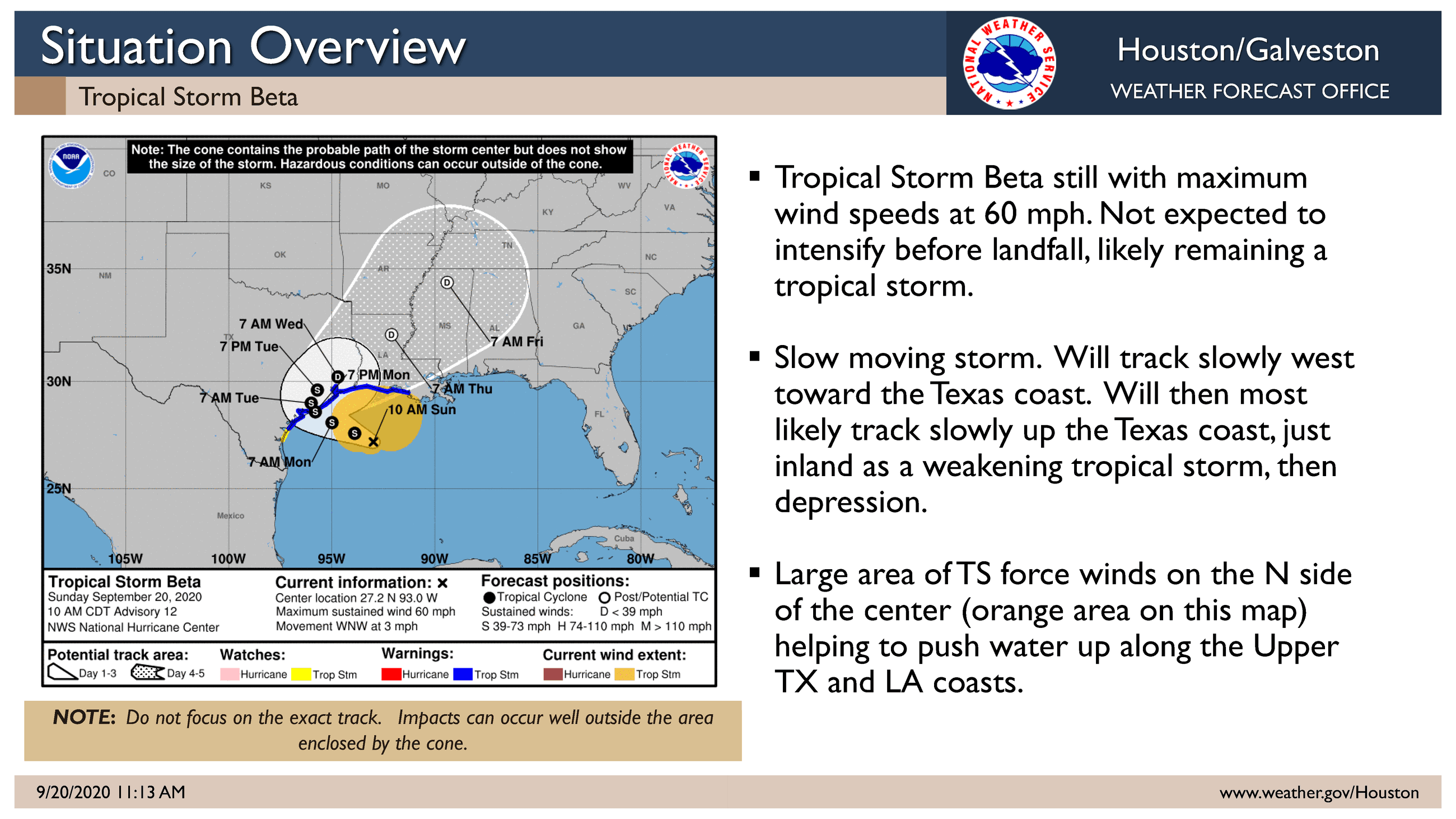 Tropical Storm Beta National weather service Update_September 20, 2020