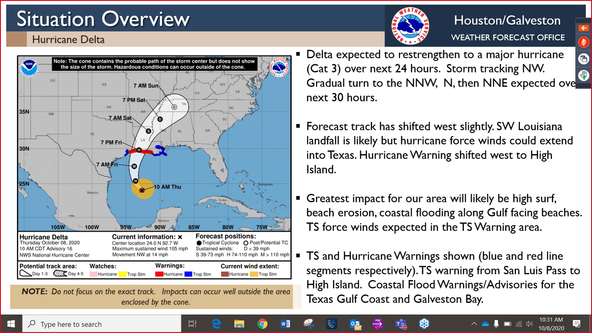 Hurricane Delta track information from October 8, 2020, 10:30 a.m.