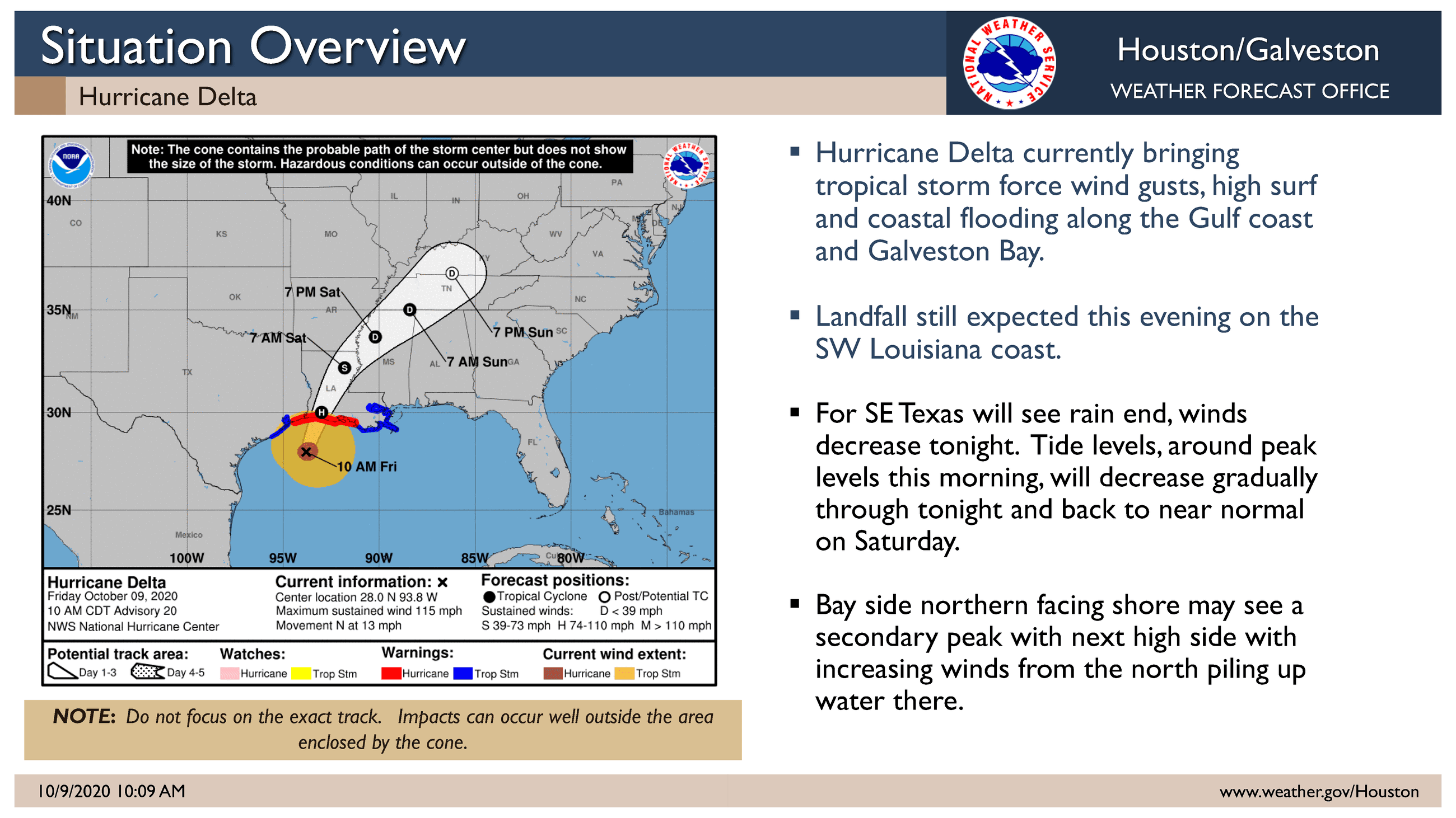 Hurricane Delta track information from October 9, 2020, 10:00 a.m.