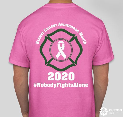 Mont Belvieu Fire Department Breast Cancer Shirt - back design with text No one fights alone